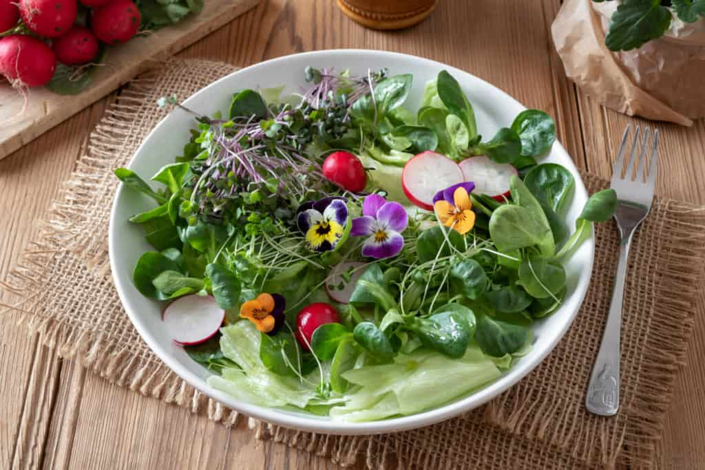 YayImages_HowDoYouEatMicrogreens__salad-with-fresh-broccoli-and-kale-microgreens-and-pansies