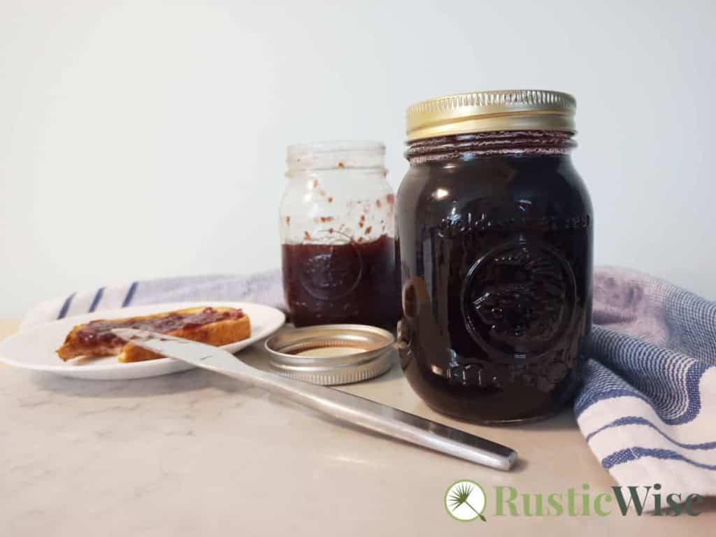 RusticWise_CanningFrozenBlueberries-jam